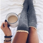 Lovely Chic Patchwork Lace Grey Socks