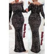 Lovely Party Patchwork Skinny Black Maxi Dress