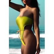 Lovely High-Leg Green One-piece Swimsuit