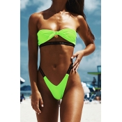 Lovely High-Leg Green Two-piece Swimsuit