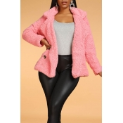 Lovely Casual Buttons Decorative Pink Coat
