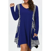 Lovely Casual Print Loose Blue Plus Size Mini Dres