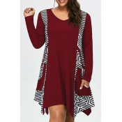 Lovely Casual Print Loose Wine Red Plus Size Mini