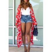 Lovely Casual Print Red Long Coat