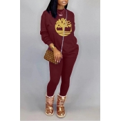 Lovely Casual O Neck Printed Purple Two-piece Pant