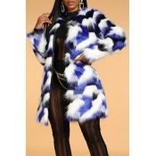 Lovely Trendy Patchwork Blue Long Coat
