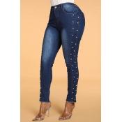 Lovely Trendy Skinny Deep Blue Jeans