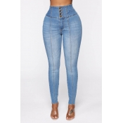 Lovely Casual Buttons Blue Jeans