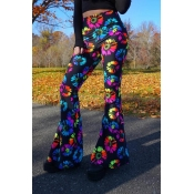 Lovely Trendy Print Black Pants