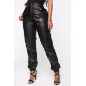 Lovely Trendy Zipper Design Black Pants