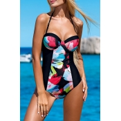 Lovely Bohemian Floral Black One-piece Swimsuit