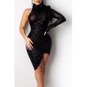Lovely Casual Asymmetrical Black Ankle Length Dress