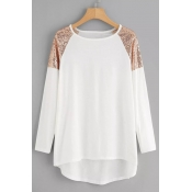 Lovely Casual Patchwork White Plus Size T-shirt