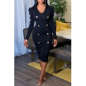 Lovely Work V Neck Buttons Black Knee Length Dress