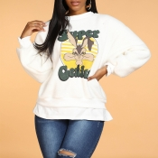 Lovely Casual Character Print White Sweatshirt Hoo