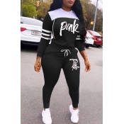 Lovely Casual Hooded Collar Letter Black Two-piece Pants Set