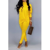 Lovely Casual Turtleneck Basic Yellow Two-piece Pa
