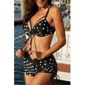 Lovely Star Print Black Two-piece Swimwear