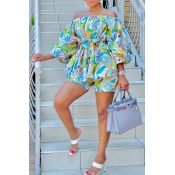 Lovely Bohemian Print Multicolor Two-piece Shorts