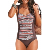 Lovely Patchwork Brown One-piece Swimwear