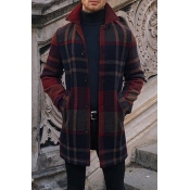 Lovely Casual Plaid Black And Red Coat