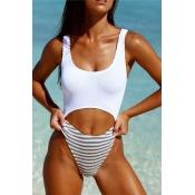 Lovely Patchwork White One-piece Swimwear