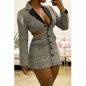 Lovely Chic Hollow-out Grey Mini OL Dress