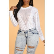 Lovely Chic Hollow-out Patchwork White Sweater