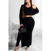Lovely Trendy Basic Skinny Black Three-piece Pants Set