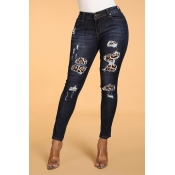 Lovely Casual Patchwork Deep Blue Jeans