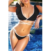 Lovely Lace-up Black Two-piece Swimwear