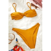 Lovely High-Leg Yellow Two-piece Swimsuit