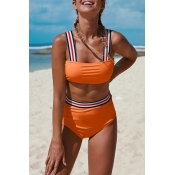 Lovely Patchwork Orange Two-piece Swimsuit