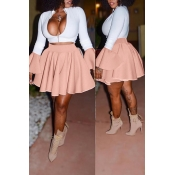 Lovely Casual Zipper Design Apricot Two-piece Skir