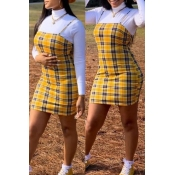 Lovely Casual Turtleneck Plaid Yellow Two-piece Sk