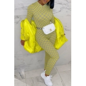 Lovely Casual Plaid Yellow One-piece Jumpsuit