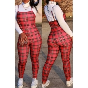 Lovely Chic Plaid Print Red One-piece Jumpsuit
