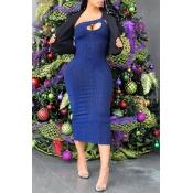 Lovely Chic One Shoulder Blue Knee Length Dress