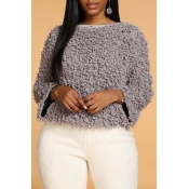 Lovely Casual O Neck Grey Sweater
