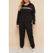 Lovely Casual Basic Black Plus Size Two-piece Pant