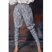 Lovely Casual Print Grey Pants