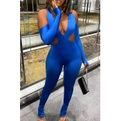 Lovely Casual Hollow-out Blue One-piece Jumpsuit