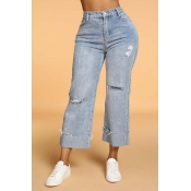 Lovely Casual Loose Blue Jeans