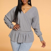 Lovely Casual Flounce Grey Sweater