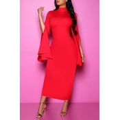 Lovely Chic Turtleneck Red Ankle Length Dress
