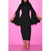 Lovely Chic Turtleneck Black Ankle Length Dress