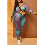 Lovely Casual Striped Green Plus Size One-piece Ju