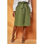 Lovely Trendy Buttons Army Green Skirt