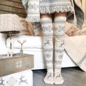 Lovely Chic Deer Grey Socks