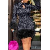 Lovely Chic Turndown Collar Patchwork Black Knee L